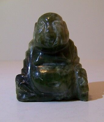Vintage Dark Green Genuine Jade Carved Sitting Buddha