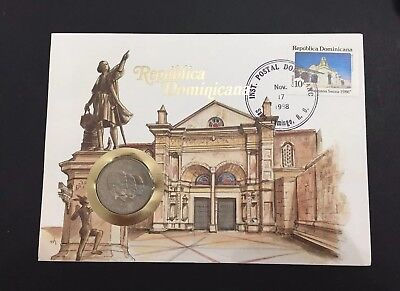 Dominican Republic 1984 Coin And Envelope with Stamp