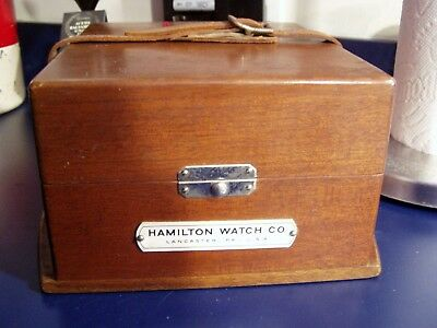 Hamilton Watch Co US Navy Chronometer Deck Watch Outer Wood Box Only WW2 WWII