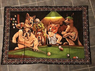 Vintage Dogs Playing Pool Tapesty - 55 x 37 Billiards Woven Poster Wall Hanging