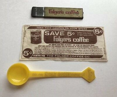 Lot of 3 Vintage Folger's Items ~  Box Cutter, Plastic Scoop & 5 Cent Coupon