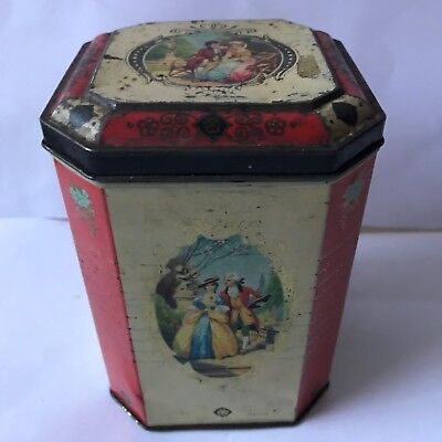 Vintage MACFARLANE LANG & CO 14cm Biscuit Tin Storage Caddy Couple In The Park
