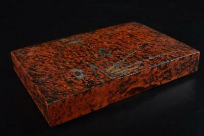 G3864: Japanese Wooden Lacquer ware Crab pattern INKSTONE CASE Box Calligraphy