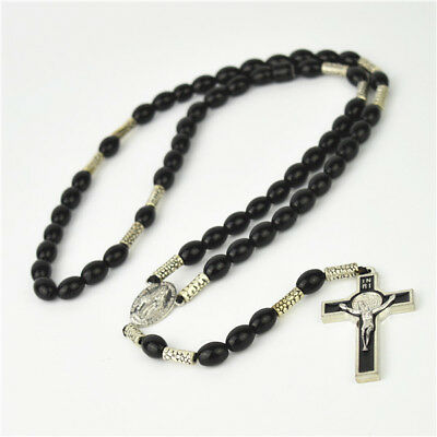 Black Oval Glass Bead Religious Christian Rosary With Metal Cross