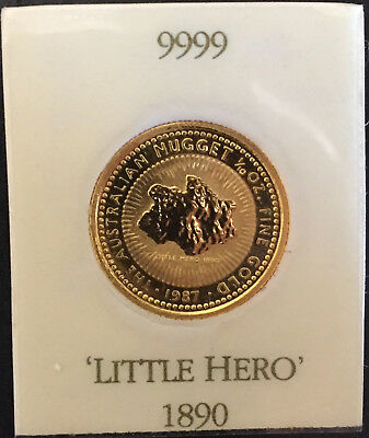 Australian 1/10 oz Perth Mint pure Gold Nugget Proof Coin - Little Hero 1987