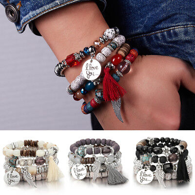 4pcs I Love You Multilayer Natural Stone Crystal Bangle Beads Bracelet Jewelry