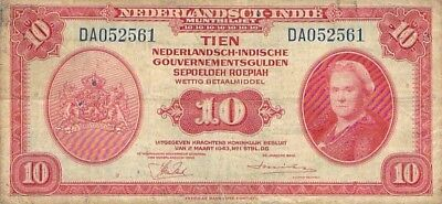Netherlands Indies 10 Gulden Note 1943 World War Ii P-114