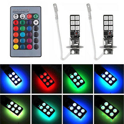 2pcs H3 5050 RGB 12SMD LED Auto Car Headlight Fog Bulb Light Remote Control NEW