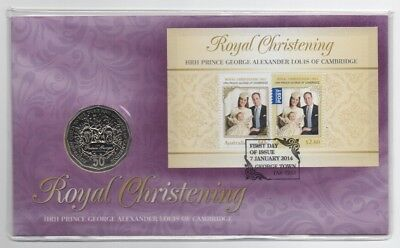 2014 Australia Pnc: Prince George Limited Edition W/ Crown Design 50 Cent Coin