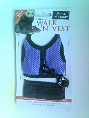 Walk 'n' Vest Ferret / Small Animal Harness & Lead Set - Purple - New