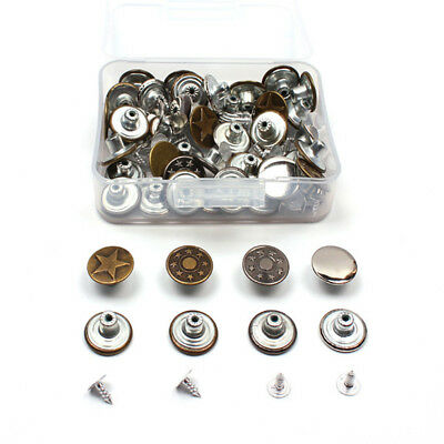 40sets x 17mm Metal Jeans Studs Buttons with Pins for Denim Pants Hammer on Type