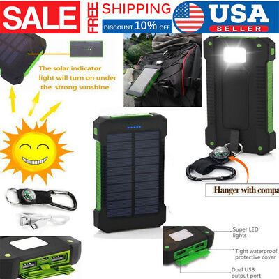 Dual-USB Waterproof 50000mah Solar Power Bank Battery Charger for Cell Phone US