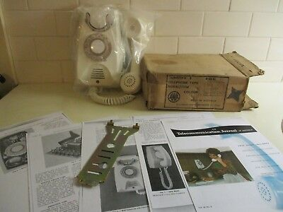 1983 White Wall Telephone NEW OLD STOCK with Box, Bracket & 5 Page Article.