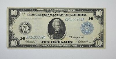1914 $10 Blue Seal Federal Reserve of New York Large Size Note - Fr. 910 *3495