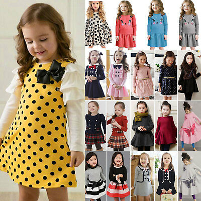 Girls Skater Kids Long Sleeve Party Fit Flare Winter Autumn Dress Ages 1-9 Years