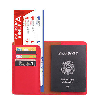 Travel Passport Holder Case Cover Faux Leather RFID Blocking Wallet Pouch Ardent