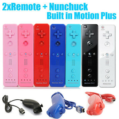 2in1 Remote Built in Motion Plus Controller +Nunchuck for Wii Wiimote AU 2019