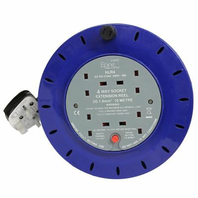 Heavy Duty 4 Way Extension Reel Lead 13 Amp Electrical Cable Mains Socket 10m