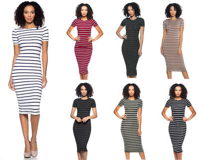 Casual Striped T-Shirt Dress Bodycon Fitted Long Midi Short Sleeve Stretch Sexy