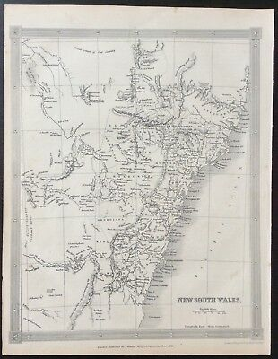 1836 map of News South Wales in Australia published in London by Thomas Kelly