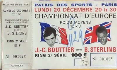 Ticket Complet (rare) billet boxing boxe  BOUTTIER STERLING Championnat Europe