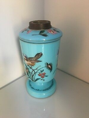 blue glass oil lamp with birds and flowers