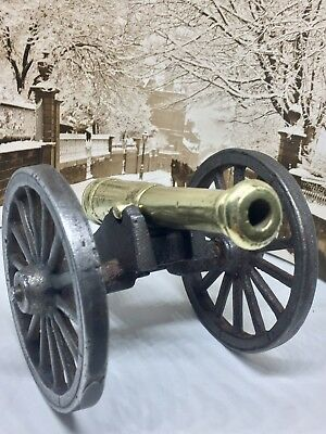 Antique Cast Iron Brass Civil War Canon - Miniature Replica