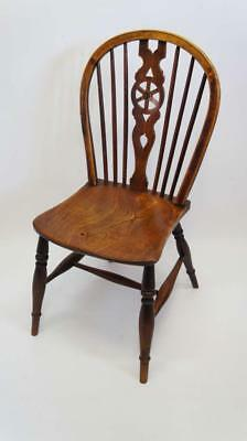 Late Georgian wheel back Windsor kitchen chair in Oak & Elm