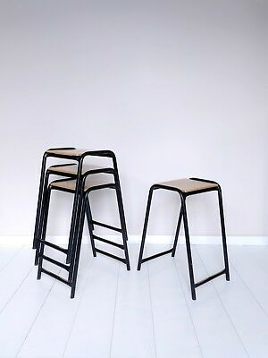 Vintage Stacking School Lab Stools - Cafe Bar Restaurant - 12 Available