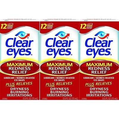 3 PACK Of Clear Eyes Maximum Redness Reliefs Eye Drops Drying, Burning 0.5 oz