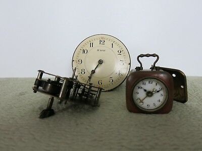 Small Vintage Carriage Clock and Clock Movement x 2