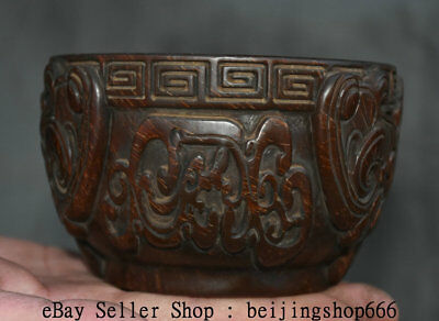 """5.2"""" Marked Old Chinese Ox Horn Oxhorn Carved Beast Dynasty Palace Bowl Bowl"""