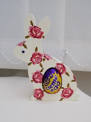 Emma Bridgewater themed Easter Bunny decorated in Tiny Rose Pattern. With Egg