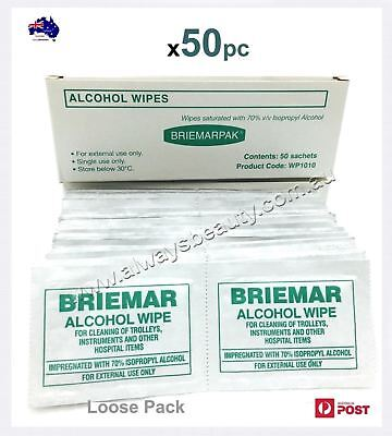 Briemar Alcohol Wipes Swabs Beauty Clinic 50 Pad ISOPROPYL ALCOHOL Medium WIPE