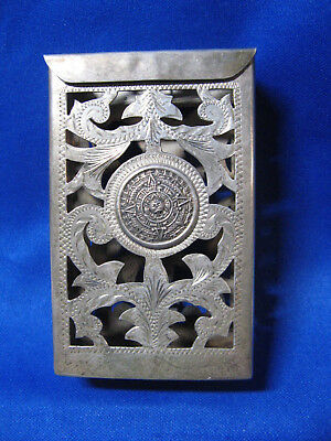 Vintage Mexican Sterling Silver Cigarette Case Box Pack Holder 70 Grams