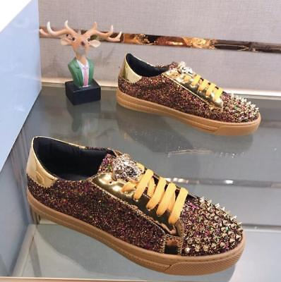 Fashion Men's Leather Rivet Shoes Shiny Sequins Lace Up Low Top Skate Sneakers