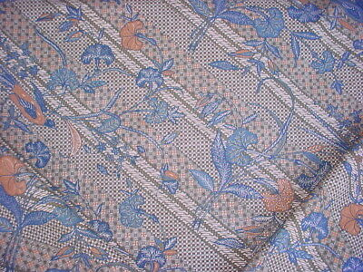 4-3/4Y Pierre Frey Lapis Blue Ochre Floral Printed Linen Upholstery Fabric