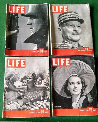 4x Life Magazine Lot Jan March May 1940 Antique Rare Collectible World II Day