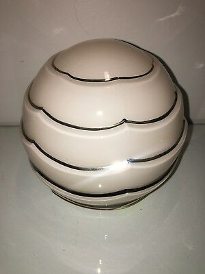 antique  art deco pale peach and silver  lampshade