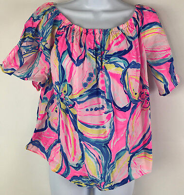 68eb643df70d6 Lilly Pulitzer Womens Medium Pink Sain Off Shoulder Blouse Sunset New NWT