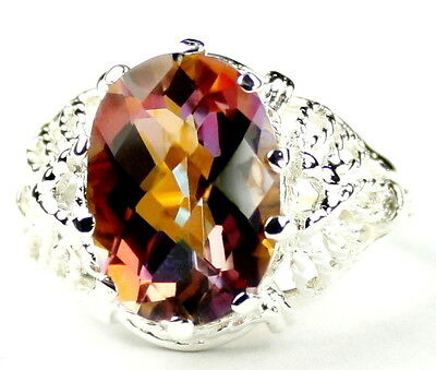 7 ct TWILIGHT FIRE TOPAZ Sterling Silver Ladies Ring -Handmade • SR260