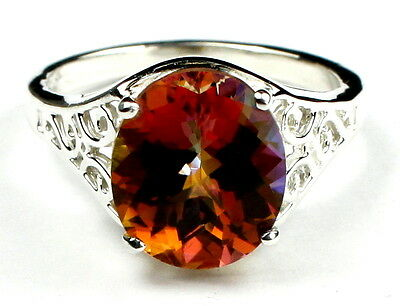 12x10mm, TWILIGHT FIRE TOPAZ Sterling Silver Ladies Ring -Handmade • SR057