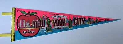 """New York City NYC The Big Apple Pennant World Trade Center 25"""" Long Vintage"""