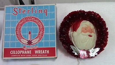 """Vintage C-7 Sterling Cellophane Christmas Wreath With Santa Face 9 1/2"""""""