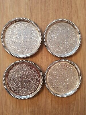 Decorative Silver Plated Coasters x 4