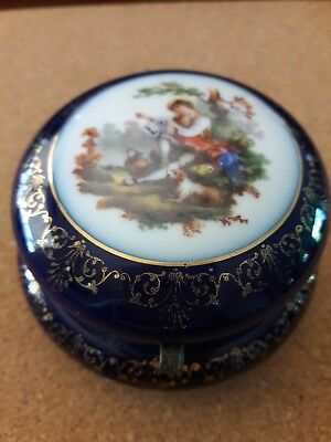 Antique FBS Czechoslovakia Porcelain Hand Painted Hinged Box