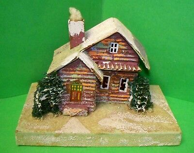 Antique JAPAN 1930s Mica Christmas VIillage Log Cabin Putz House 2 Trees (ACS)