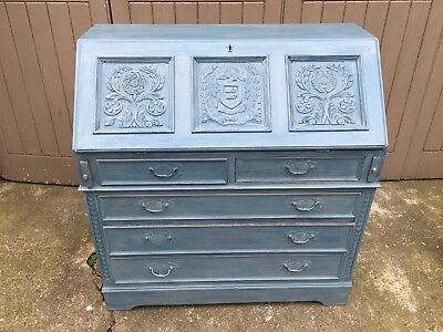 Shabby chic painted bureau in Jacobean style with ornate carvings by Jaycee 1970