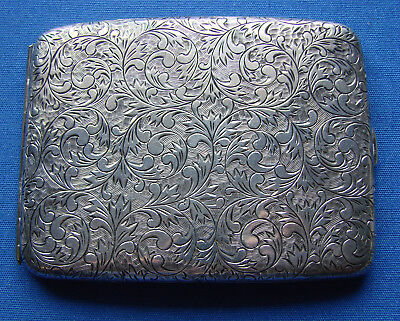 *VERY STUNNING 950 SILVER ENGRAVED CIGARETTE CASE w/GOLD INLAY ON HOLDER*