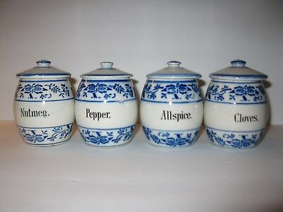 4  Antique Blue Onion Spice Jars Nutmeg  Cloves Allspice and Pepper  With Lids